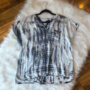 Cynthia Rowley Tye Dye Blue White Top Size 1X